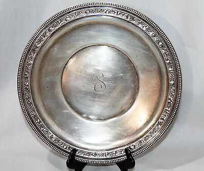 ANTIQUE Wallace Sterling Silver 10'' Platter Dish Floral Repousse