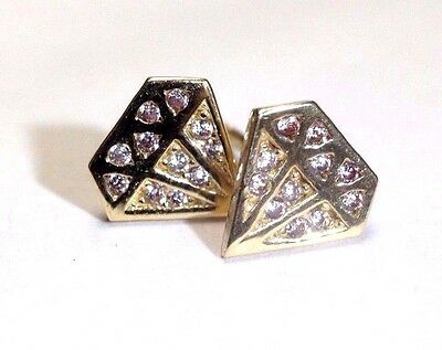 Super Cute and Fun! Diamond Shaped 14K Yellow Gold Sparkling Earring Studs NEW