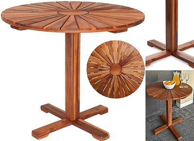 Round Wooden Table Outdoor Garden Patio Balcony Furniture Dining Coffee Table
