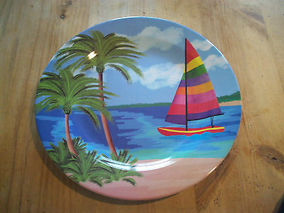 "Beautiful and Colorful Sailboat & Beach 16"" Round Melamine Platter"