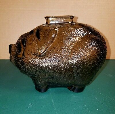 Vintage smoked glass piggy bank. Possibly Anchor Hawking?