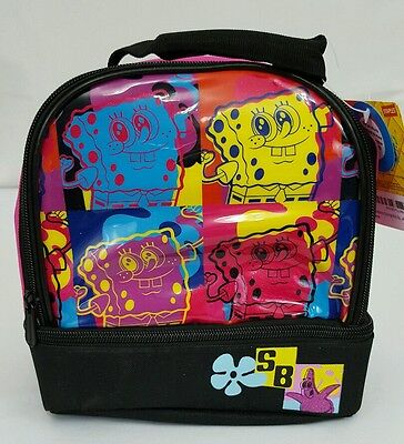 SpongeBob Squarepants Insulated Lunch Box Bag Soft 2 Compartments NWT