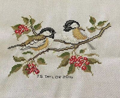 Two Little Birds Completed Cross Stitch