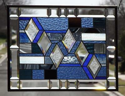"• DREAMER• Beveled Stained Glass Window Panel • 22x16 ¾""-(56x42.5cm)"