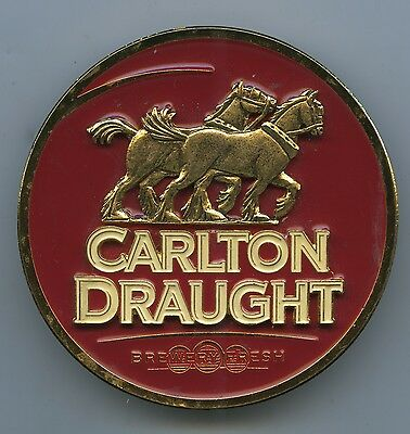 Carlton Red Background Draught Die Cast Beer Tap Badge Very Good Condition B96