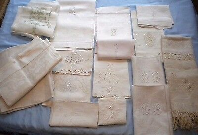 Lot of 23 Antique Vintage Hand Towel Linen Damask Lovely Large Small