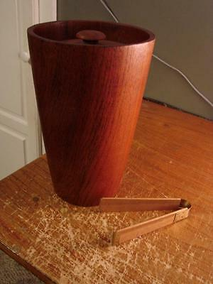 """Large Teakwood? Wooden Ice Bucket With Tongs 10-3/4"""" Tall NICE"""