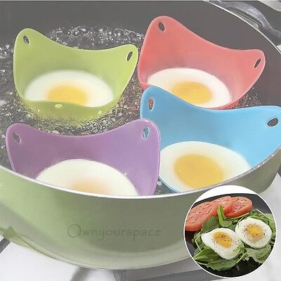 4 Silicone Egg Poacher Poaching Poach Cup Pods Mould Microwaveable Non-Stick