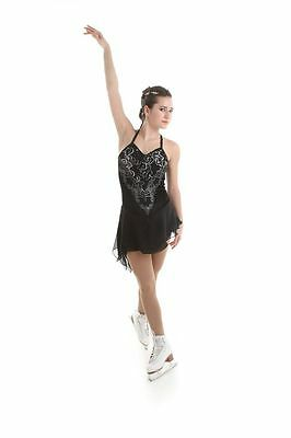 NEW COMPETITION SKATING DRESS Elite Xpression Black 1501 SIZE ADULT AXL