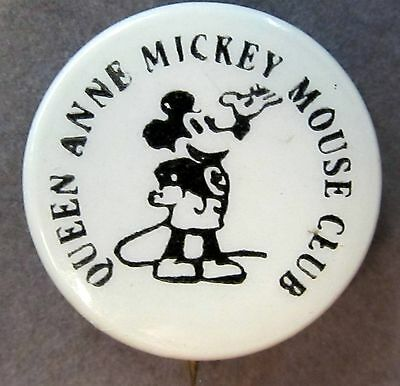 SEATTLE rare circa 1929 QUEEN ANNE MICKEY MOUSE CLUB Theater pinback button
