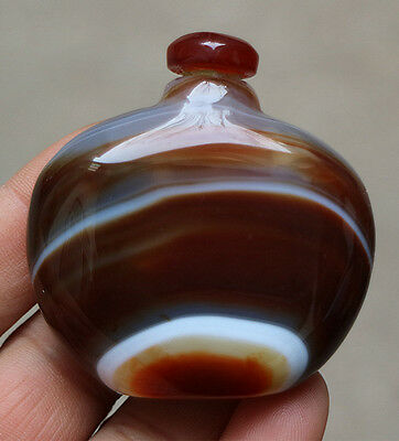 Absolutely fine!Handmade Brazil agate snuff bottle perfume bottle collection