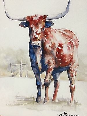 Texas Longhorn Cow Print Great Rodeo Item Matted