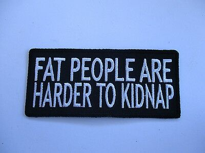 Fat people are harder......Patch Sew/Iron Rider biker Men's Shed Motorcycle vest