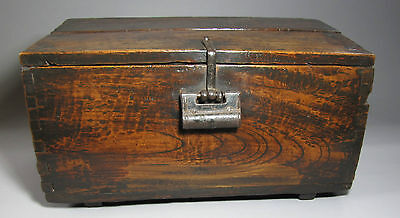 A Very Rare, Heavy and Fine Korean Hard Wood Small Coin Chest-19th C.: