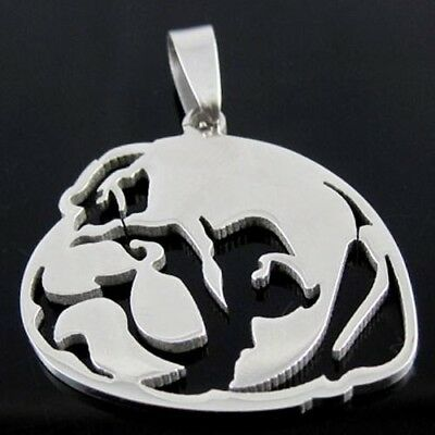 Stainless Steel Chinese Pug Dutch Bulldog Pet Dog Tag Head Pendant Necklace