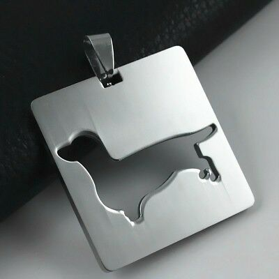 Stainless Steel Dachshund Doxie Wiener Pet Dog Square V1 Charm Pendant Necklace