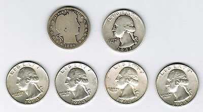 (Lot of 6 quarters) US 90% Silver Quarter (1 Barber, 5 Washington)