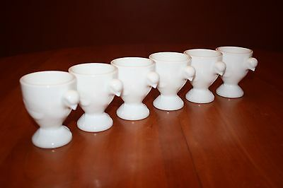 """Vintage Westmoreland Milk Glass Six 3.5"""" Jumbo Chick Egg Cups Not Painted Signed"""