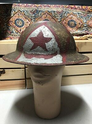 RARE Doughboy Brodie ? Helmet - Red & Silver Painting 5 Point Star Marked ZD 3