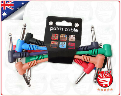 Set 6 Pack Plug Angled Leads Cables Patch For Guitar Effect Pedal 6.5mm Jack
