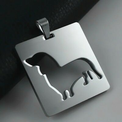 Stainless Steel Dachshund Doxie Wiener Pet Dog Square V2 Charm Pendant Necklace