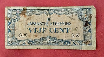 1942 WW2 Japanese/ Indonesia 5 Cents Banknotes