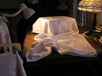 Antique 1800's Hand Woven All White Cotton Bedspread Or Coverlet Very Good