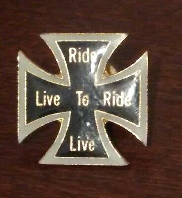 Ride To Live + Live To Ride Hat Lapel Pin - New Biker Pin