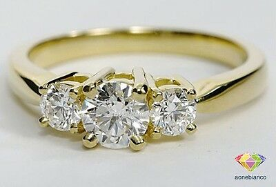 14K Yellow Gold Round Cut Anniversary Engagement Diamond 3 Stone Ring 1 Ct