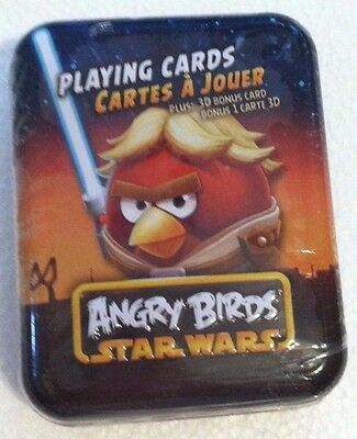 NEW Star Wars Angry Birds Playing Cards in Tin Luke Skywalker Case FREE SHIPPING