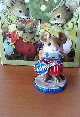 """Wee Forest Folk """"One-Mouse Band"""" WFF# M-196a, red pants (AP) Mint"""
