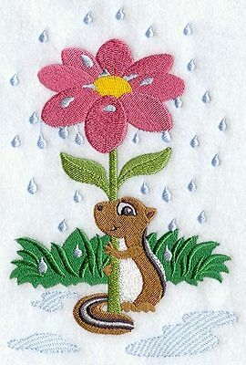 Embroidered Chipmunk under flower quilt block,sewing fabric,cushion panel,fabric