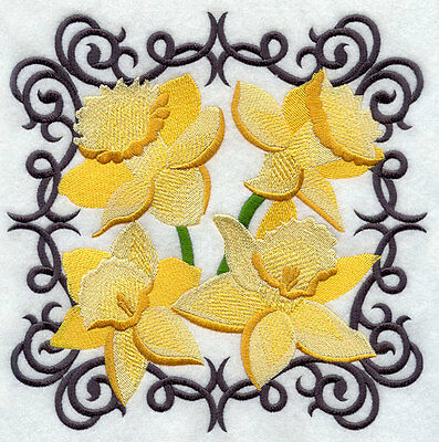Embroidered Scrollwork daffodil quilt block,sewing fabric,cushion panel,flowers