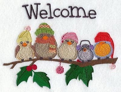 Embroidered Welcome owl quilt block,sewing,bird fabric,cushion panel,owl fabric