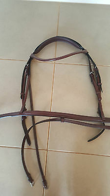 NEW beautiful brown rolled leather bridle, full size