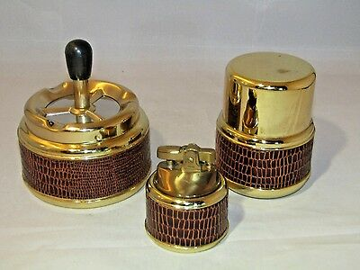 Vtg Rare Roulette Ashtray Lighter Cigarette Storage Collectible Gold  Table Set