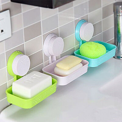 Durable Plastic Suction Cup Wall Soap Holder Dish Basket Tray Bathroom Shower