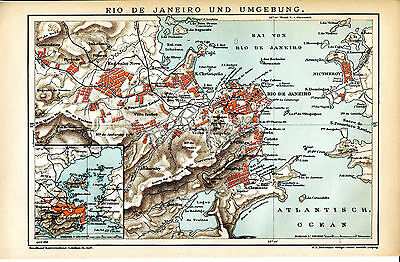 1898 BRAZIL RIO de JANEIRO CITY and OUTSKIRTS Antique Map DATED