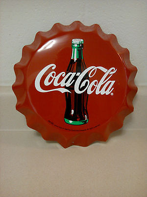 """Coca Cola Bottle Cap Sign..90's Release..10"""" Die-Cut..awesome N.o.s...rare"""