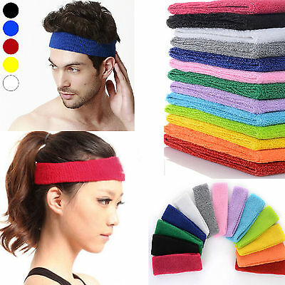 2 PCS Unisex Cotton Sport Sweat Sweatband Headband Yoga Gym Stretch Head Band