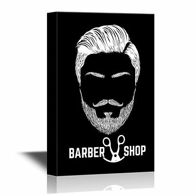 wall26 - Hair Style Canvas Wall Art - Barbershop Concept - 12x18 inches