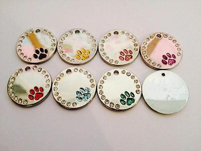 Pet Tag Glitter Crystals PAW Dog Cat Tags ID Personalized  Engraved Disc