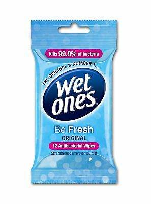 Wet Ones Be Fresh Delicate Antibacterial Baby / Adult / Handbag Wipes - 12 Pack