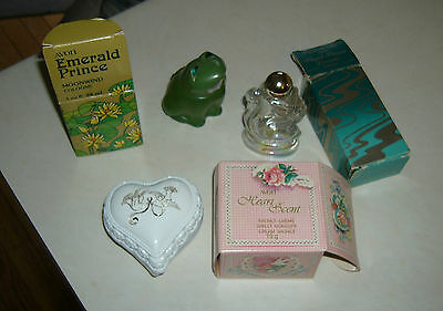 AVON WINGED  PRINCESS empty Bottle,Emerald Prince,Heart Scent cream Sachet boxes