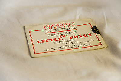 Vintage, antique 1940s Picadilly Theatre programme: THE LITTLE FOXES