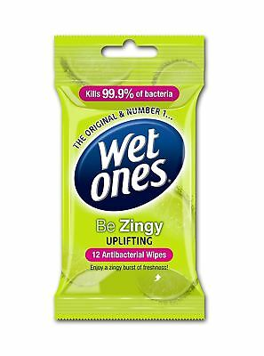 Wet Ones Be Zingy Delicate Antibacterial Baby / Adult / Handbag Wipes - 12 Pack
