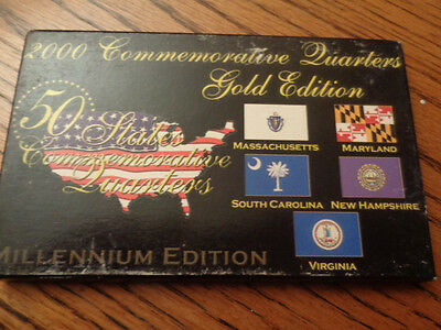 1999 SET Uncirculated US Commemorative Quarters. Gold Edition. 24K Gold plated