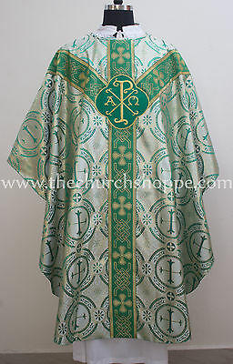 Green metallic gothic vestment, stole  set ,Gothic chasuble,casula,casel
