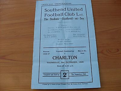 Southend Res v Charlton Res programme dated 3-10-1946  (395)
