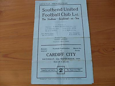 Southend Res v Cardiff Res programme dated 21-9-1946  (407)